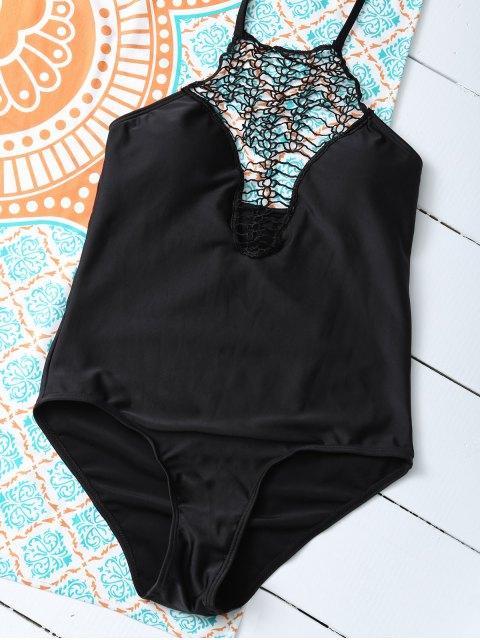 unique Cut Out One-Piece Swimwear - BLACK XL Mobile