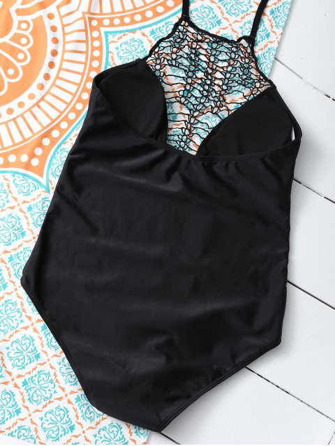 buy Cut Out One-Piece Swimwear - BLACK S Mobile