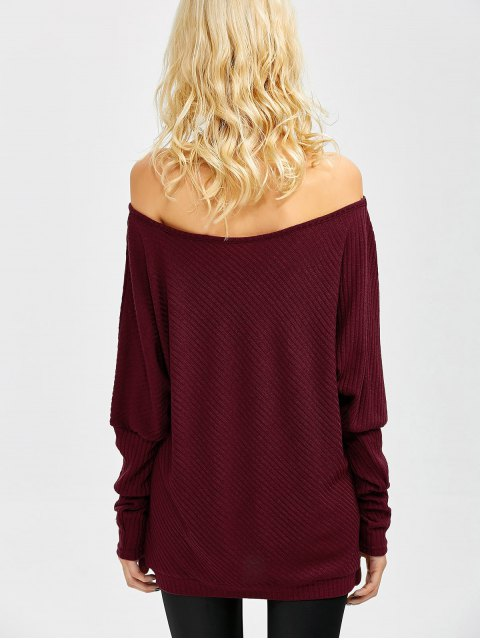 lady Asymmetric Neckline Batwing Sweater - WINE RED L Mobile