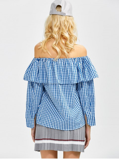 womens Gingham Check Off The Shoulder Blouse - BLUE L Mobile
