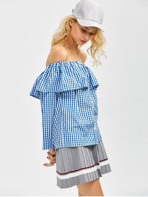 women Gingham Check Off The Shoulder Blouse - BLUE M Mobile