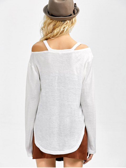 latest Cut Out Pullover Sweater - WHITE M Mobile