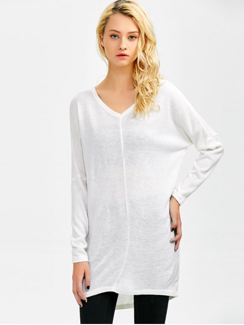 sale V Neck Batwing Sleeve Sweater - WHITE M Mobile