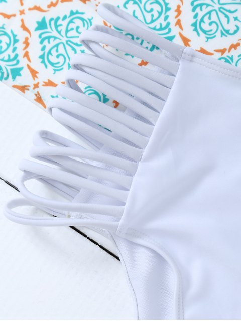 fancy Padded Ruffles Top With Cutout Briefs Bikini - WHITE XL Mobile