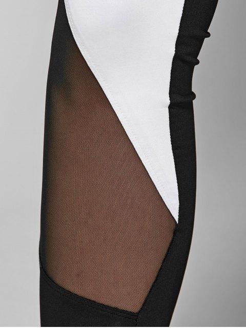 best Geometric Print Bra and Mesh Leggings - WHITE AND BLACK S Mobile