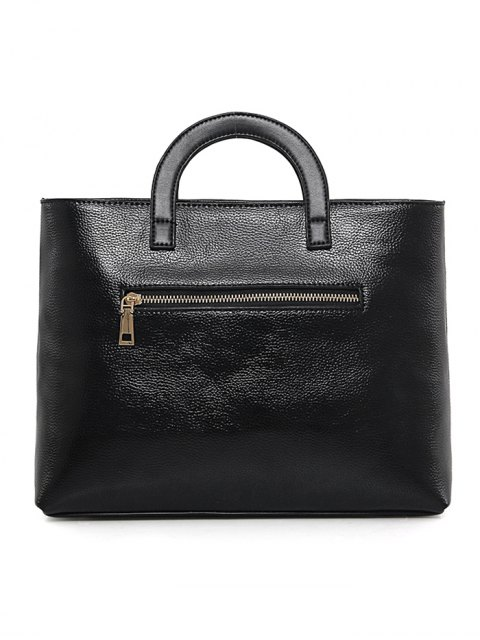 women Wing Pattern Textured Leather Stitching Tote Bag - BLACK  Mobile
