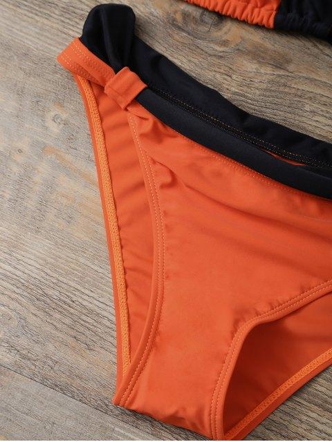 womens Geometric Color Block Bikini Set - ORANGEPINK L Mobile