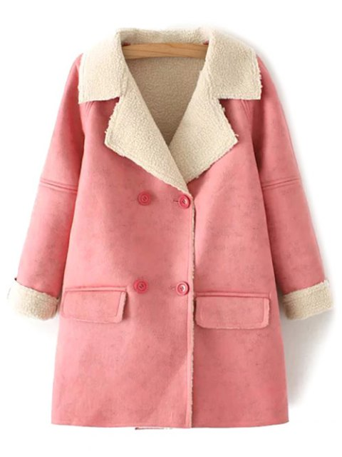 best Suede Faux Shearling Peacoat - PINK L Mobile