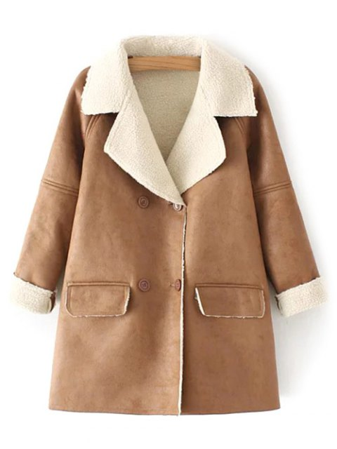 hot Suede Faux Shearling Peacoat - KHAKI L Mobile