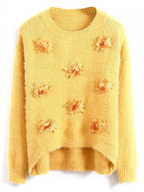 lady Floral Applique Fluffy Sweater - YELLOW ONE SIZE Mobile