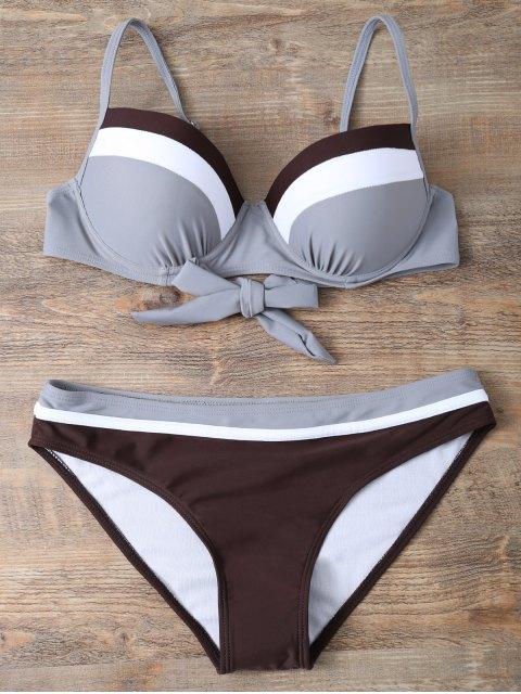 shops Color Block Bowknot Bikini Set - GRAY L Mobile