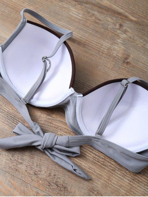 trendy Color Block Bowknot Bikini Set - GRAY S Mobile