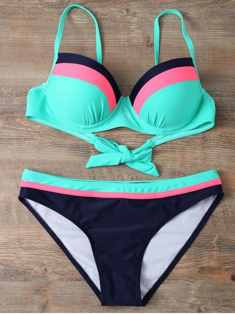 fancy Color Block Bowknot Bikini Set - GREEN S Mobile