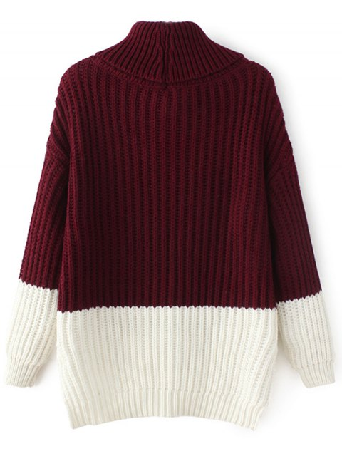 chic Cowl Neck High-Low Sweater - WINE RED ONE SIZE Mobile