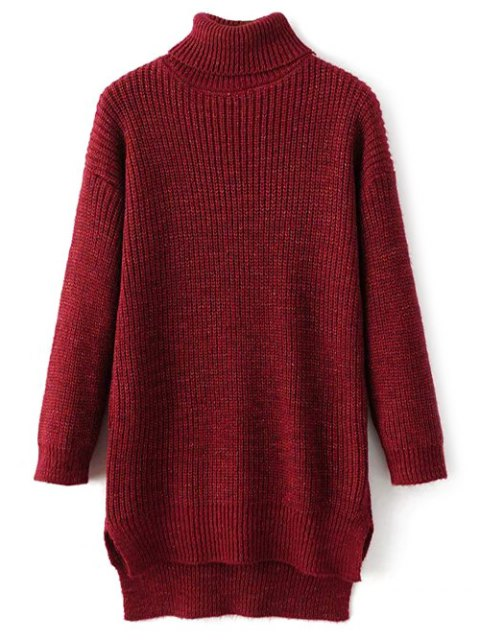 lady High Low Turtle Neck Heathered Jumper - RED ONE SIZE Mobile