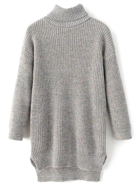 best High Low Turtle Neck Heathered Jumper - GRAY ONE SIZE Mobile
