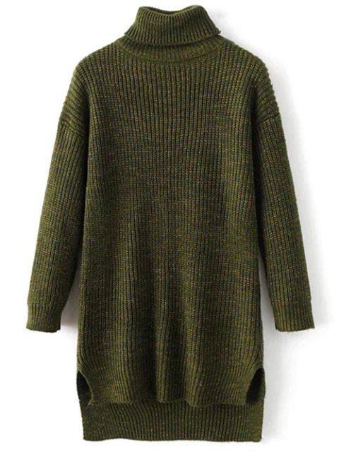 online High Low Turtle Neck Heathered Jumper - GREEN ONE SIZE Mobile