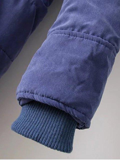 affordable Zip-Up Lamb Wool Coat - BLUE M Mobile