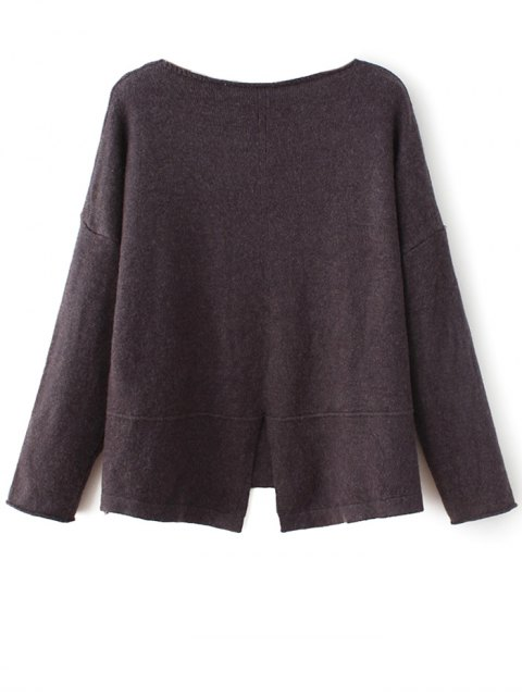 shops Slit V Neck Sweater - COFFEE ONE SIZE Mobile