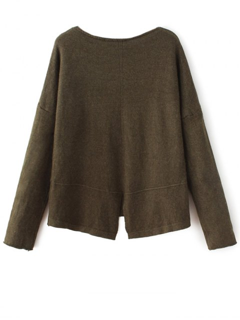 latest Slit V Neck Sweater - ARMY GREEN ONE SIZE Mobile