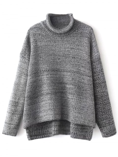 new Funnel Neck Boxy Sweater - GRAY ONE SIZE Mobile