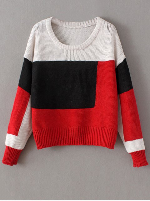 chic Crew Neck Color Block Chunky Sweater - RED ONE SIZE Mobile