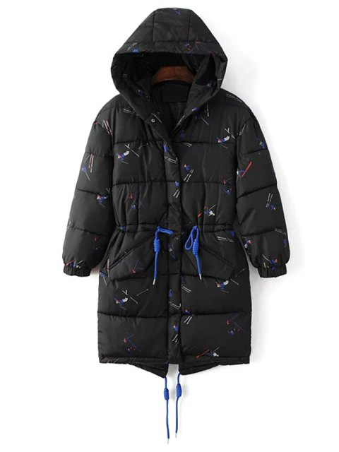 fancy Drawstring Cartoon Print Padded Coat - BLACK 2XL Mobile