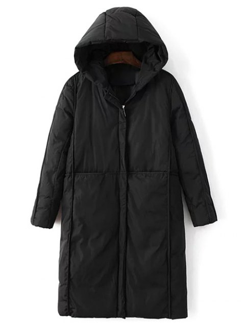 lady Hooded Puffer Coat with Pocket - BLACK L Mobile