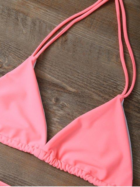 buy High Waist Cutout Bikini Set - PINK L Mobile