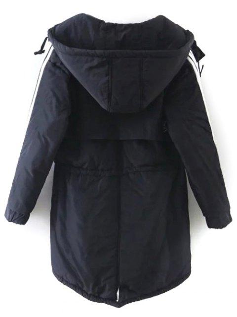 womens Drawstring Zip-Up Hooded Puffer Coat - BLACK M Mobile