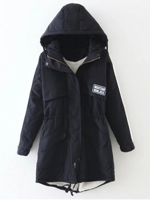 affordable Drawstring Zip-Up Hooded Puffer Coat - BLACK XL Mobile