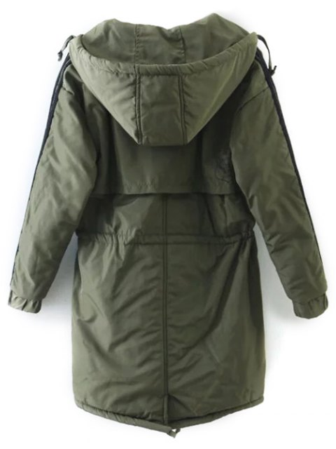 lady Drawstring Zip-Up Hooded Puffer Coat - GREEN M Mobile