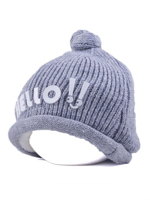 trendy Hello Embellished Chunky Knitted Hat - GRAY  Mobile