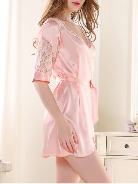 trendy Sleep Lace Spliced Wrap Robe - LIGHT PINK ONE SIZE Mobile