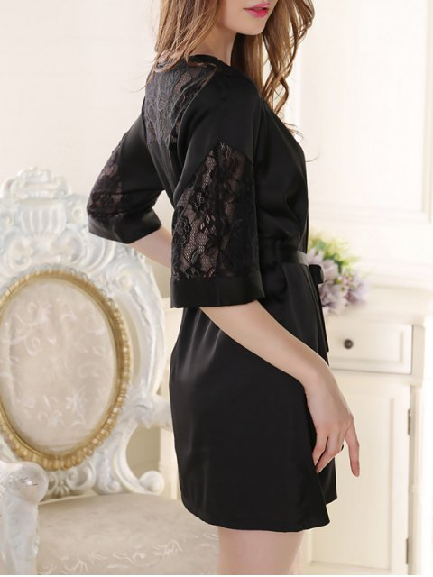 latest Sleep Lace Spliced Wrap Robe - BLACK ONE SIZE Mobile