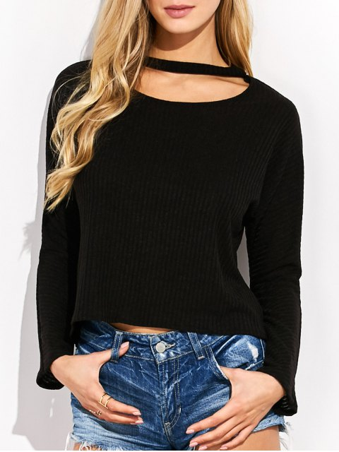 outfits High-Low Choker Sweater - BLACK ONE SIZE Mobile