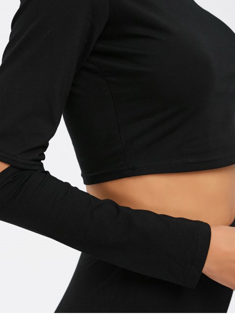 womens Crop Top and Hollow Out  Pants Twinset - BLACK XL Mobile
