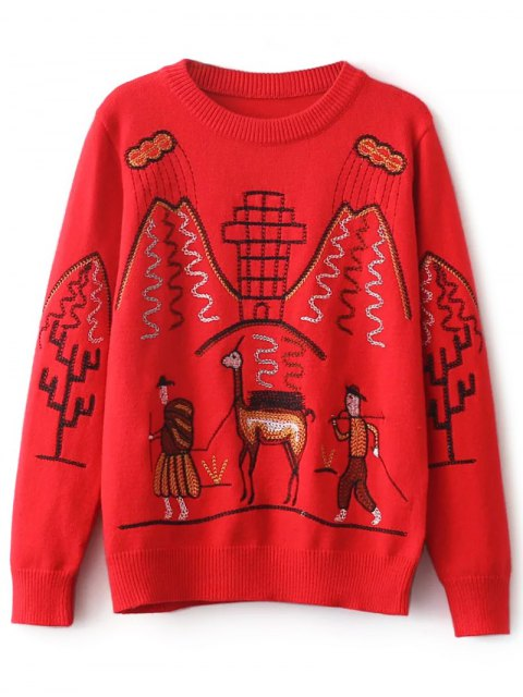 outfit Crew Neck Embroidered Sweater - RED ONE SIZE Mobile