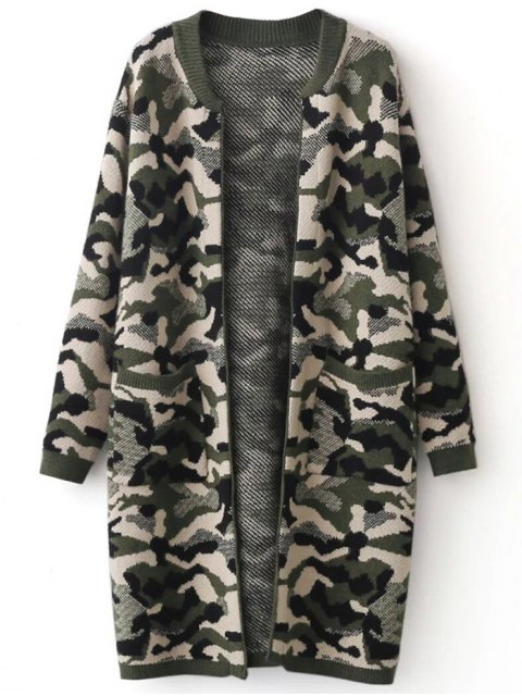 shop Camoflage Longline Cardigan - ARMY GREEN ONE SIZE Mobile