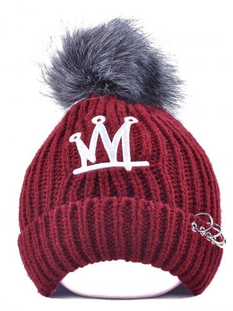 online Crown Pom Ball Circle Hoop Embellished Hat - WINE RED  Mobile