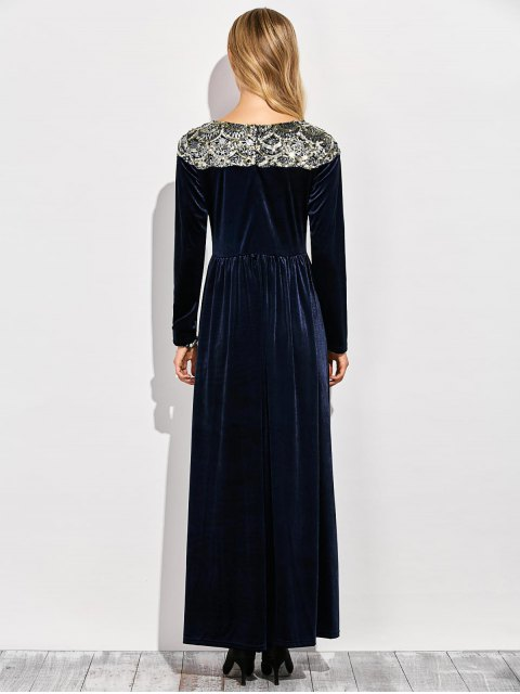 outfit Sequined Velvet Long Swing Dress With Sleeves - BLUE L Mobile