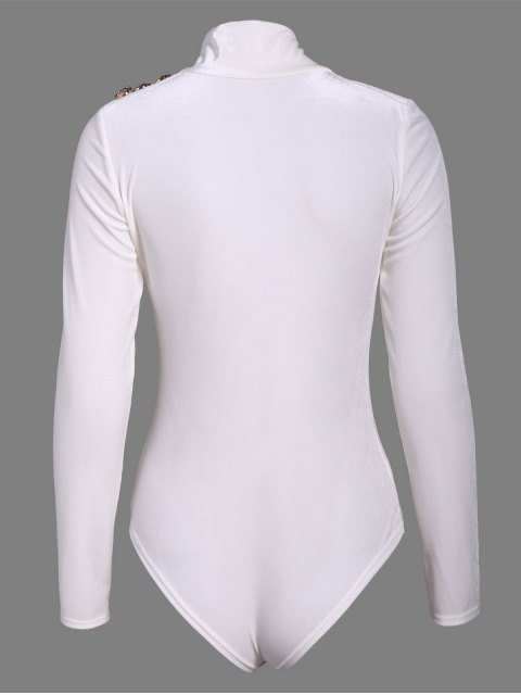 hot Turtle Neck Velvet Bodysuit - WHITE S Mobile