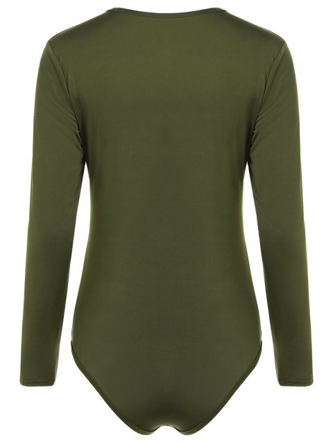 affordable Cut Out Lace-Up Bodysuit - ARMY GREEN S Mobile