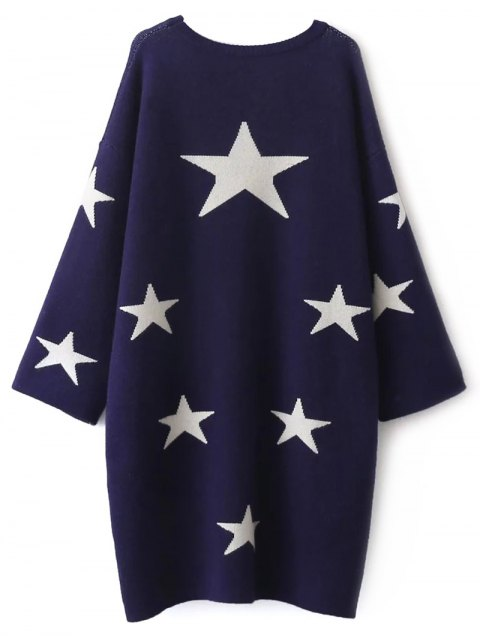 lady Stars Jacquard Sweater Dress - CADETBLUE ONE SIZE Mobile