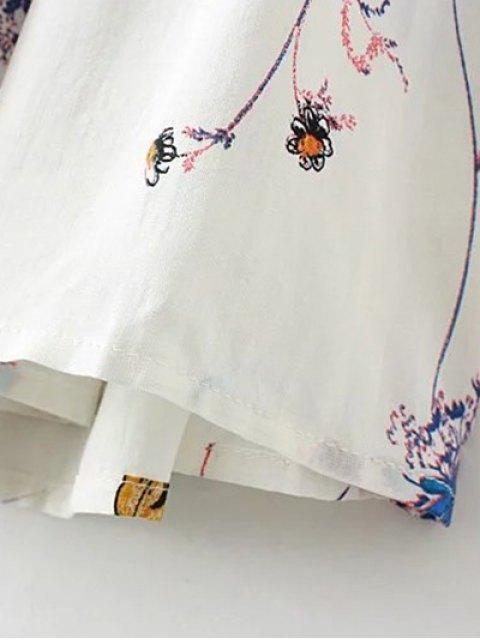buy Off Shoulder Flare Sleeve Floral Blouse - WHITE S Mobile