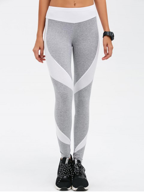 shops Slimming Stretchy Contrast Athletic Pants - LIGHT GRAY XL Mobile