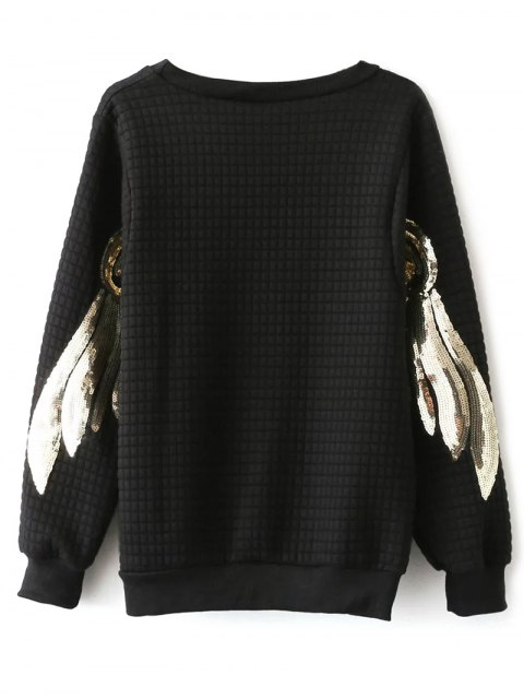 hot Sequined Sleeve Sweatshirt - BLACK ONE SIZE Mobile