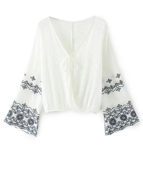 ladies Embroidered Loose Surplice Blouse - WHITE L Mobile