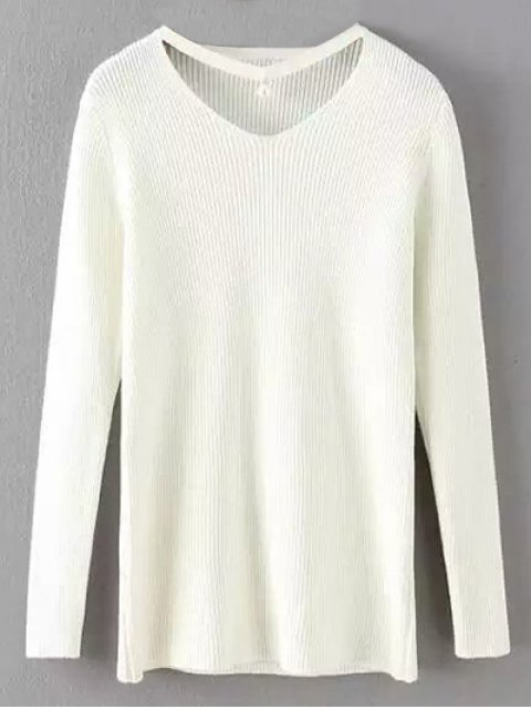 lady Choker Ribbed Sweater - WHITE ONE SIZE Mobile
