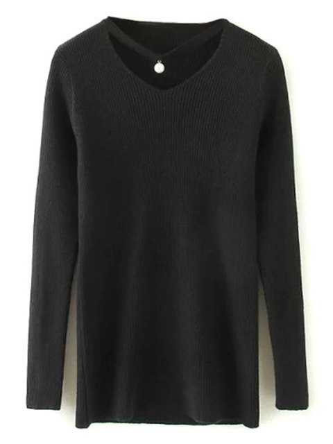 best Choker Ribbed Sweater - BLACK ONE SIZE Mobile